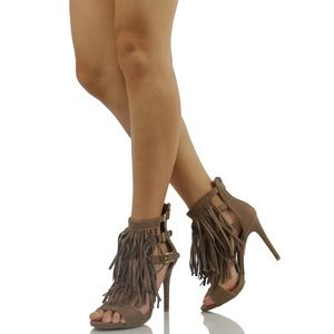 Shoes - Berlin51 Taupe Open Toe Faux Suede Strappy Fringe